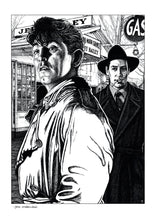 Load image into Gallery viewer, Film noir art drawing print of Out Of The Past by John Harbourne