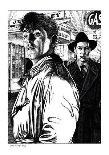 Film noir art drawing print of Out Of The Past by John Harbourne
