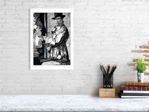 Film noir art drawing print of The Big Sleep A3 size