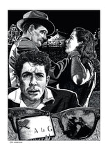 Load image into Gallery viewer, Film noir art drawing print of Strangers On A Train by John Harbourne