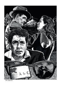 Film noir art drawing print of Strangers On A Train by John Harbourne