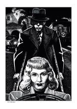 Load image into Gallery viewer, Film noir art drawing print of Double Indemnity by John Harbourne