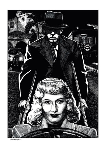 Film noir art drawing print of Double Indemnity by John Harbourne