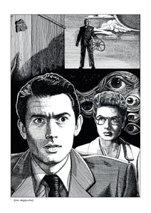 Film noir art drawing print of Spellbound by John Harbourne