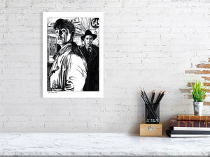 Film noir art drawing print of Out Of The Past A3 size
