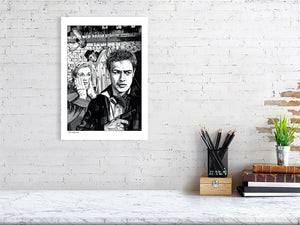 Film noir art drawing print of On The Waterfront A3 size