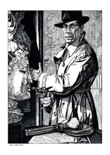 Load image into Gallery viewer, Film noir art drawing print of The Big Sleep by John Harbourne