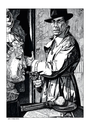 Film noir art drawing print of The Big Sleep by John Harbourne