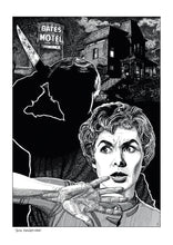 Load image into Gallery viewer, Film noir art drawing print of Psycho by John Harbourne