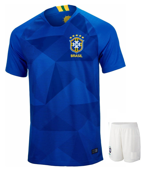 Original Brazil Premium Away Jersey & Shorts [Optional] World Cup 2018