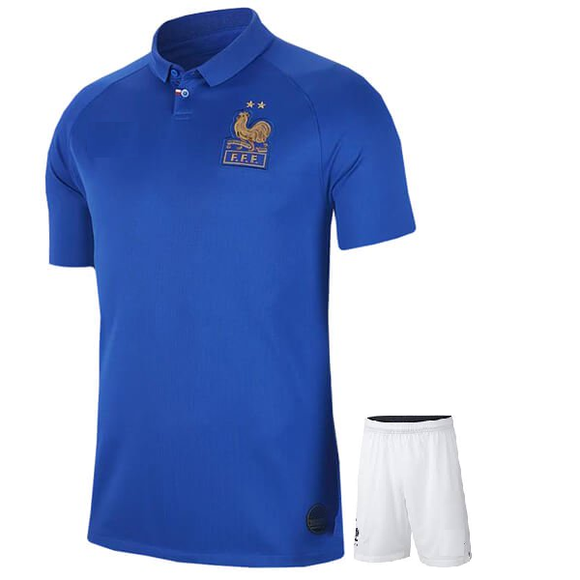 Origina France International Premium Home [With Champions Badge] Jersey & Shorts [Optional] 2019
