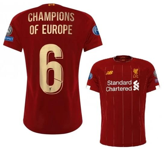 Original Liverpool Champions Of Europe Home Jersey 2019/20 [Superior Quality]