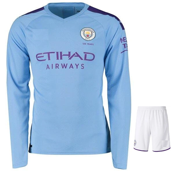 Original Manchester City Premium Full sleeve Home Jersey & Shorts [Optional] 2019/20