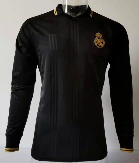 Original Real Madrid Black Full Sleeve Polo Jersey [Superior Quality]