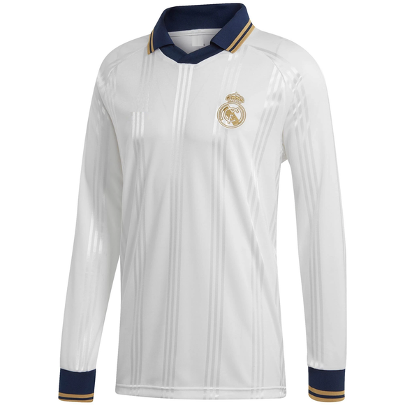 Original Real Madrid White Full Sleeve Polo Jersey [Superior Quality]