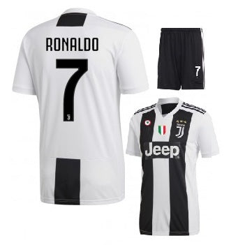Kids/Youth Original Ronaldo Juventus Premium Home Jersey & Shorts 2018/19