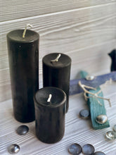 "Load image into Gallery viewer, 2"" Wide Black Beeswax Pillars"