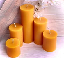 "Load image into Gallery viewer, 3"" Wide Beeswax Pillars - 5 Sizes"