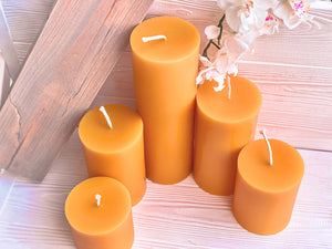 "3"" Wide Beeswax Pillars - 5 Sizes"