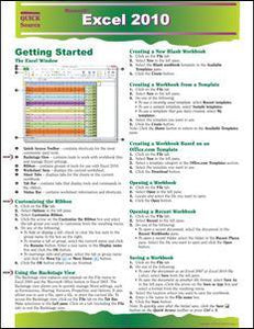 Excel 2010 Quick Source Guide - Quick Source Learning