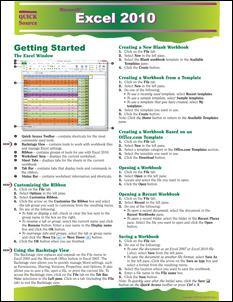 Excel 2010 Quick Source Guide PDF - Quick Source Learning
