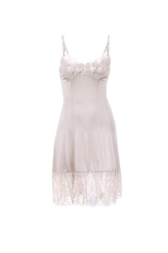 Karin slip dress color champagne lace details by Chambres
