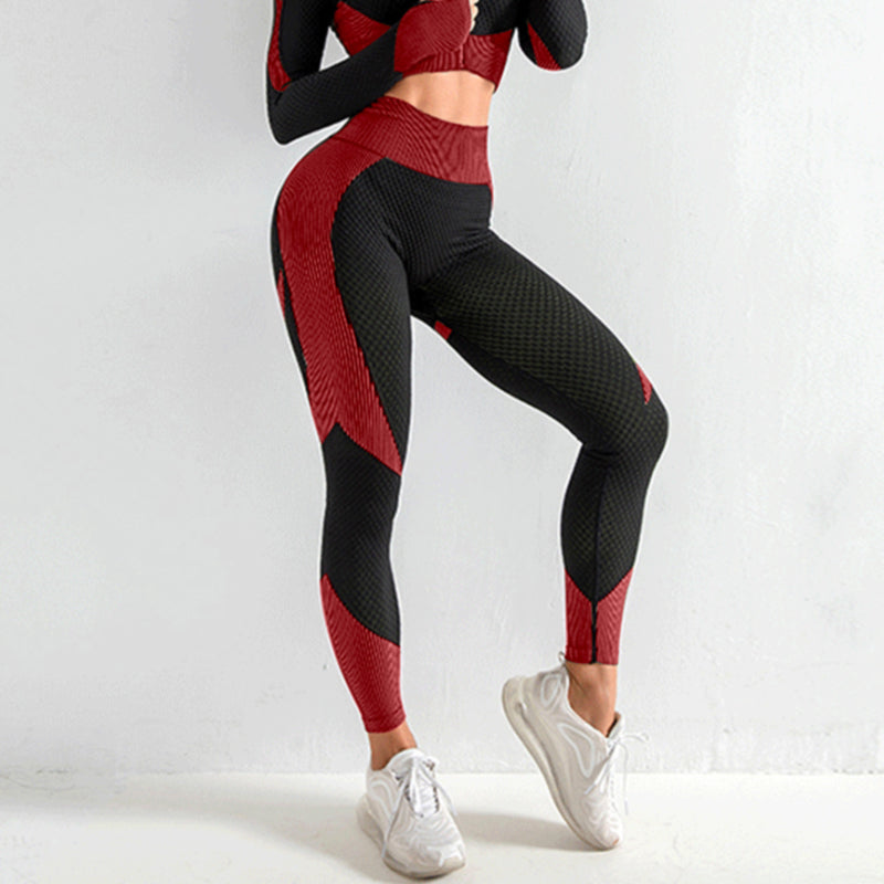 Hollow high elastic zip-up thumb hole fit yoga sport two-piece set