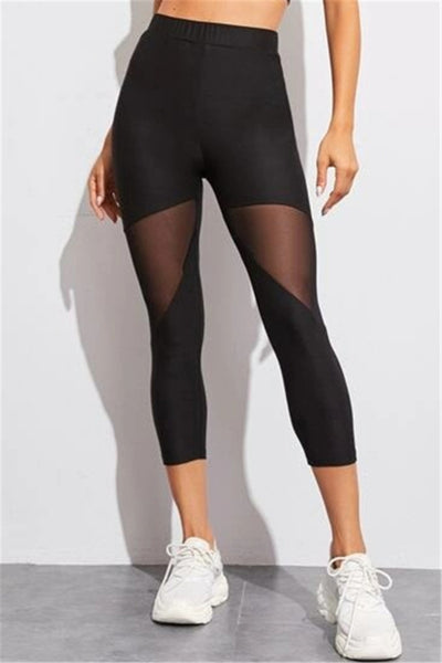 Solid mesh stretch yoga sports leggings