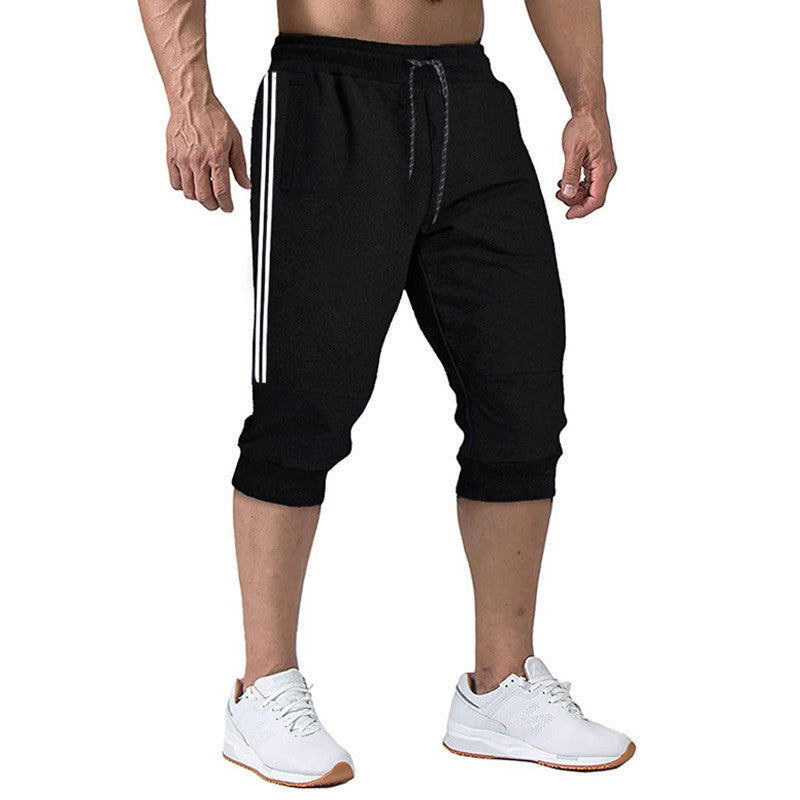 Polyester Middle Waist Men Sports Pants Seven Point Pants Solid
