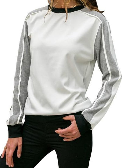 Gray Color Block Round Collar Sweatshirt