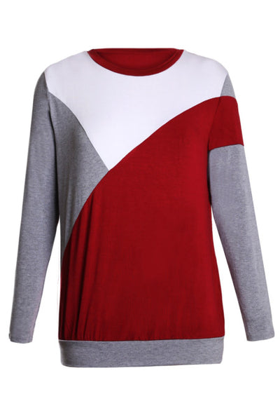 Burgundy Shoulder Slope Trio Color Block Sweatshirt