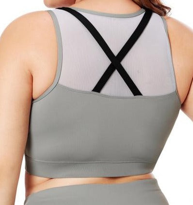 Black Strap Detail Gray Yoga Crop Top/sports bra