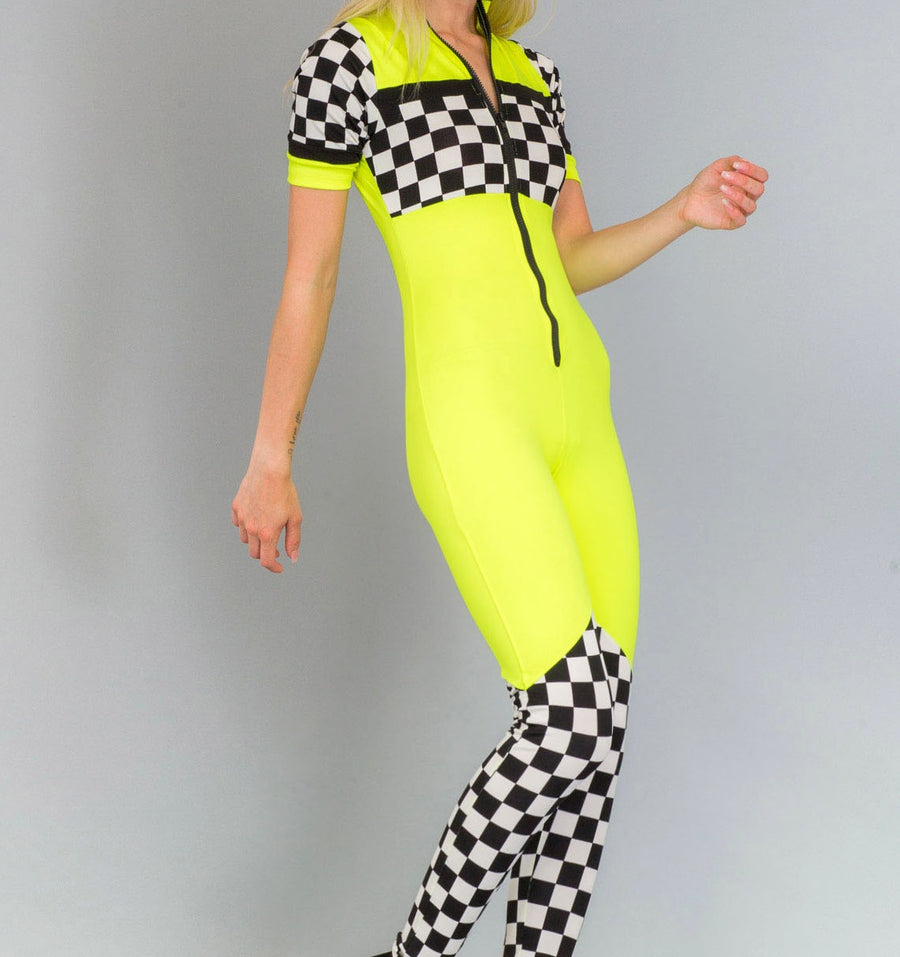 Check Panel Racing Jumpsuit