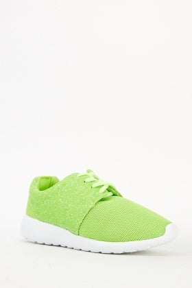 Neon Green Sparkle Trainers