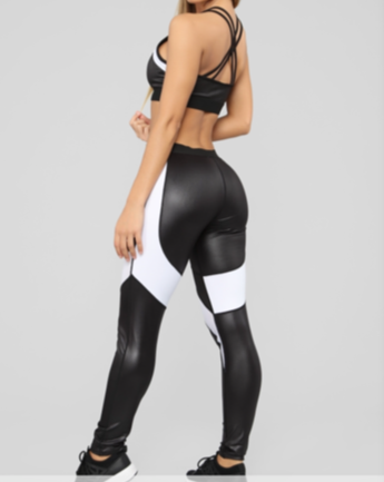 Black/White Leather Look Gym Set