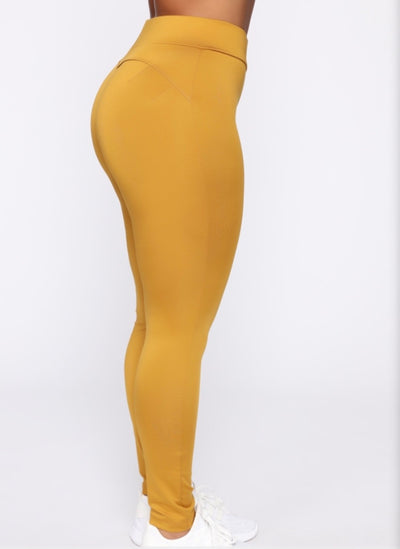 Booty Shaping Active Leggings - Mustard