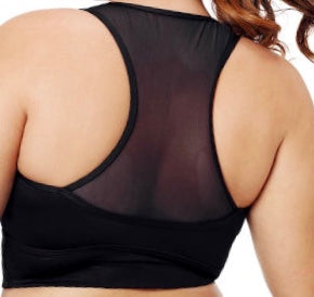 Black Sleevelss Racerback Plus Size Yoga Bra