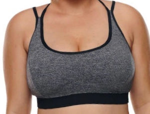 Grey Plus Size Cross-strap U-shaped Neck Sport Bra