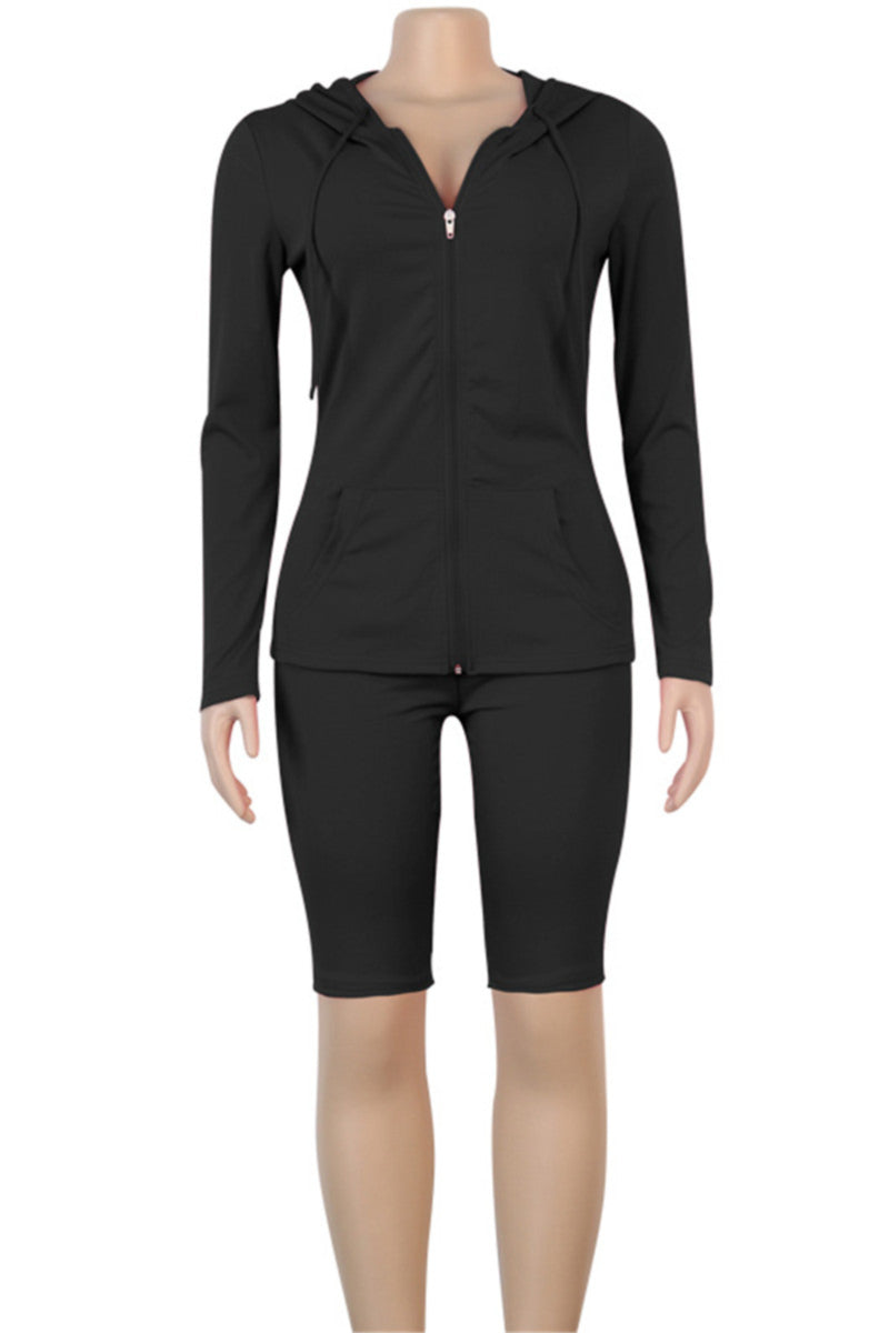 Stretch hooded zip-up stylish sports two-piece set
