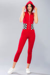 Checked Hoodie Bodycon Jumpsuit