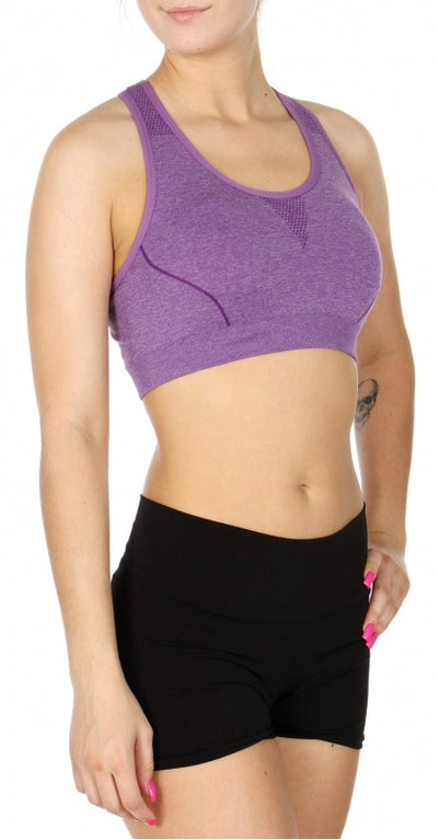 Purple Heathered Sports bra