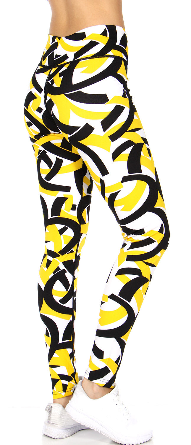 Abstract ribbon print yellow running tights