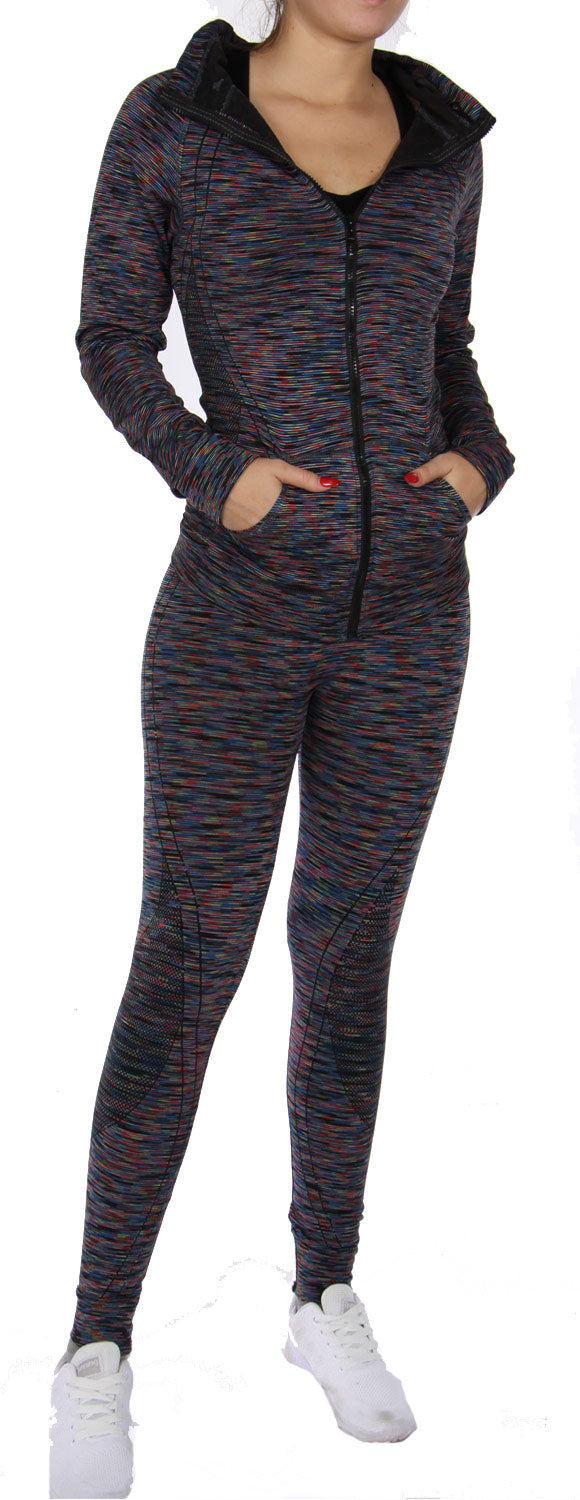 Stripe legging and jacket activewear set