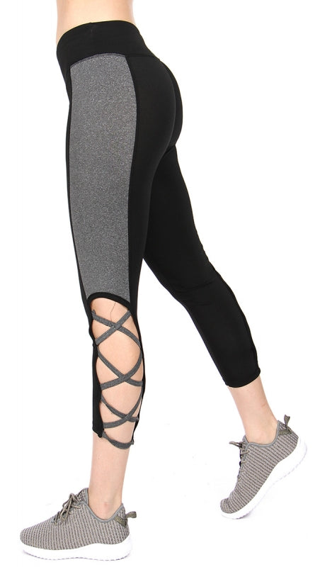 Color block lattice capri leggings