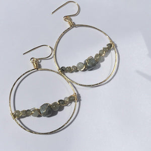 Hoop Earrings Gold Wire Wrapped Labradorite - Rocking Glass Studio