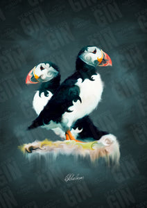St Davids Gin:'Pair of Puffins' Mounted Print
