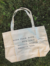 Load image into Gallery viewer, BIRTH PLACE:EARTH CANVAS TOTE BAG