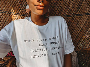 BIRTH PLACE: EARTH ADULT TEE