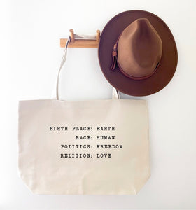 BIRTH PLACE:EARTH CANVAS TOTE BAG