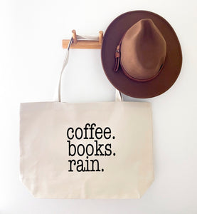 COFFEE BOOKS RAIN CANVAS TOTE BAG